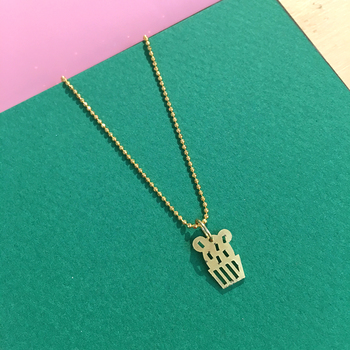 Cactus round golden necklace