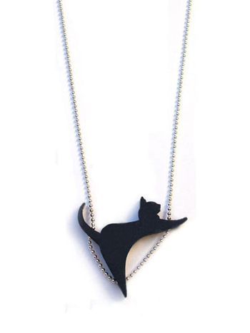 Tiny black CatWalk necklace