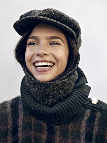 Livvy Echapeau Tweed Khaki Hat & Scarf Combination