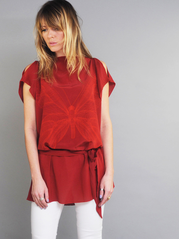 Zijde Tuniek Butterfly Dark Red