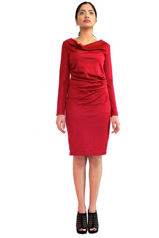 DARK RED SIDE PLEATED DRESS