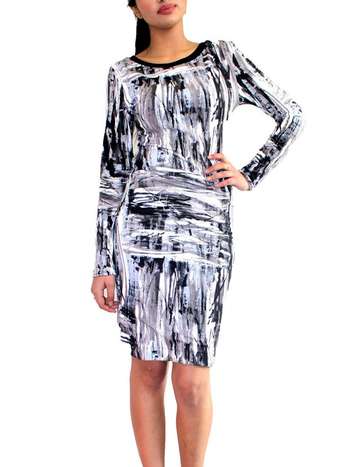 GREY, BLACK AND WHITE BODYCON DRESS